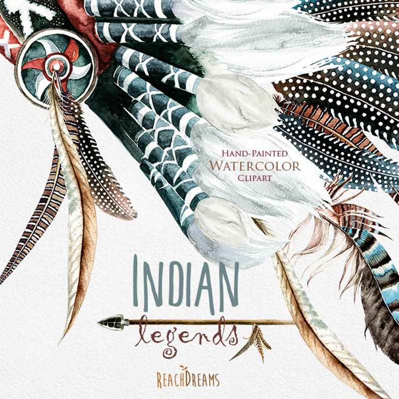 png Feathers Boho Tribal laurel branch DIY Watercolor Headdresses Clipart Native America quote Indian legends Indian ax Warbonnet