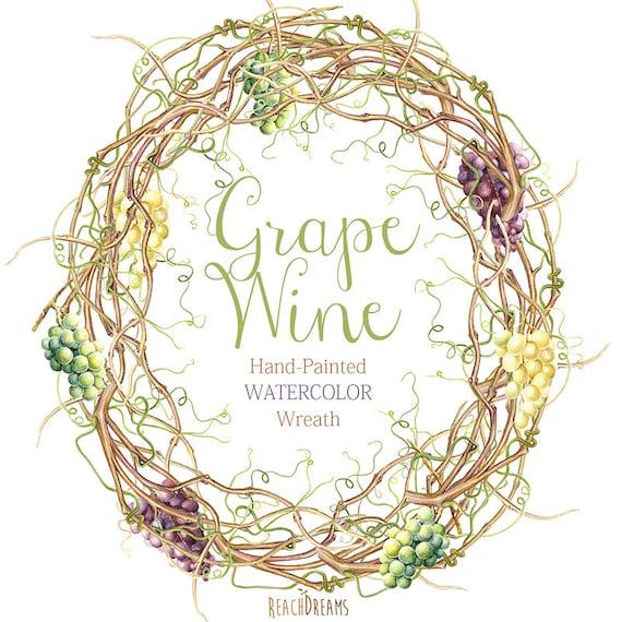 Diy Wedding Wreaths: Watercolor Grapes Vine Wreath DIY Png Invite Wedding