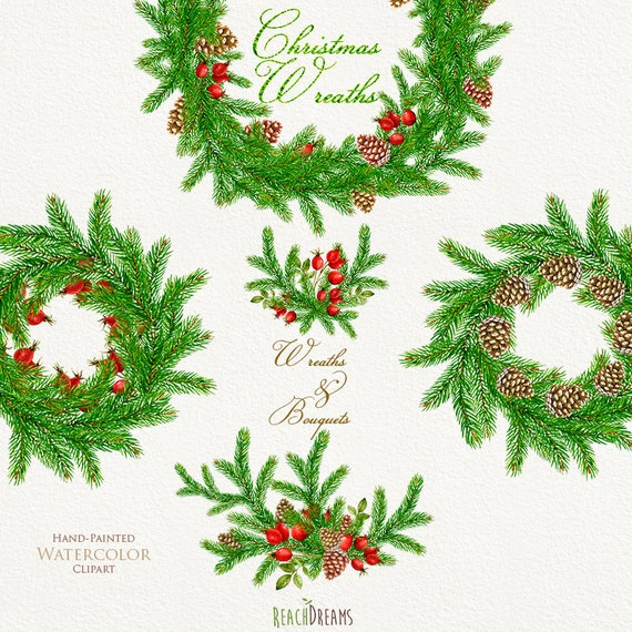 Christmas Watercolor Wreath Bouquets New Year Decor Etsy