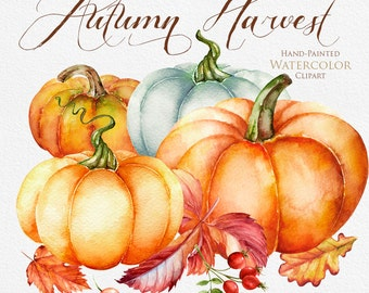 Pumpkin watercolor clipart, Halloween, Autumn, Briar, Yellow Leaves, digital clipart, hand painted clipart, fall clipart, instant download