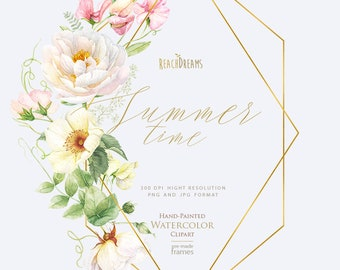 Watercolor floral, Peonies, Roses, Sweet Pea, Boho, Summer clipart, Pre-made Frame, Individual PNG, JPG, Hand Painted, Wedding invitations