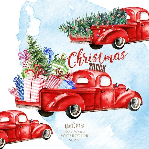 Watercolor Christmas Truck Vintage Red Pickup Pine Tree | Etsy