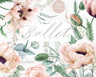 Floral clipart, Eucalyptus, Poppy, Nude flowers, Greenery, Light Pink, Watercolor Elements, Bohemian Boho, Hand Painted, Wedding invitations