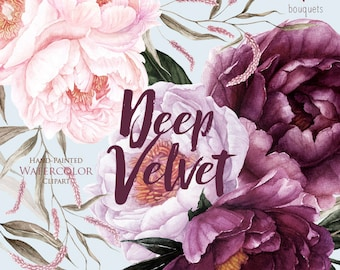 Peonies Flowers Watercolor, Purple, Pink Floral, Burgundy, Violet, Plum, Botanical, Boho Bouquets, Hand Painted Wedding Clipart, Digital png