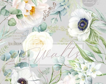 Floral clipart, Eucalyptus, Peony, Anemone, White flowers, Greenery, Watercolor elements, Bohemian Boho, Hand Painted, Wedding invitations