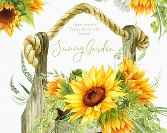 Sunflowers Watercolor Flower clipart, Hand painted, DIY Clip Art, Summer Herb, Bohemian Boho, floral invitation, greeting card, PNG files