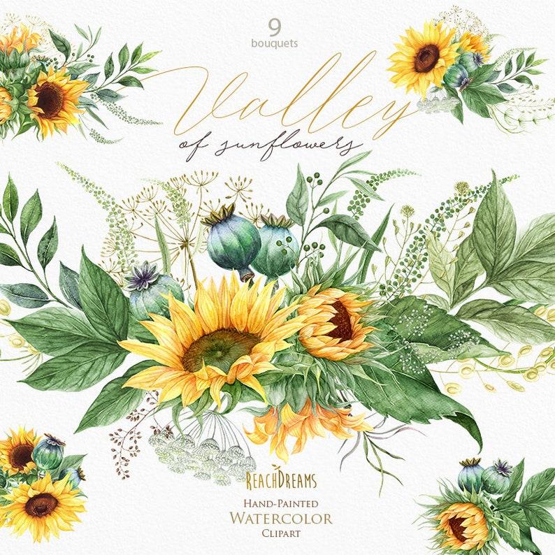 Sunflowers clipart Poppy seed-head Poppy clipart Bohemian ...