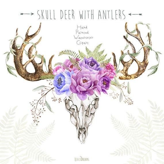 Schedel hert met gewei hand geschilderd hoorns fern peony for Gewei schedel