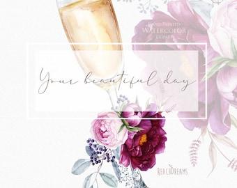 Watercolor champagne glass, wine glass, alcohol glass clipart, bubbly, bridal shower invitation, wedding invitation, purple floral bouquet
