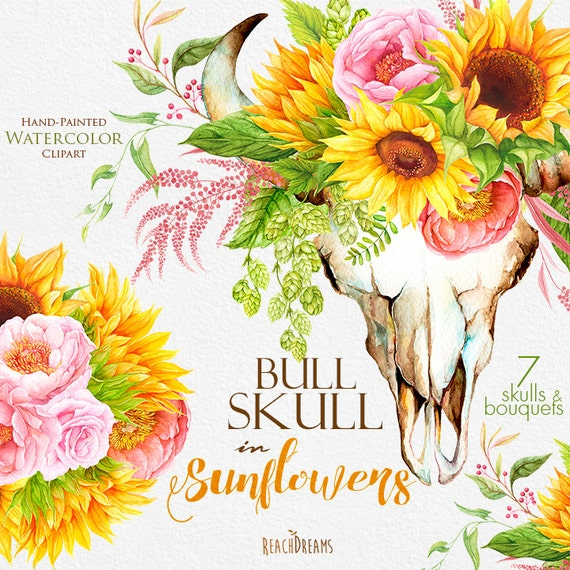 Sunflowers Watercolor Bull Skull with Floral Bouquets | Etsy