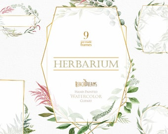 Watercolor Frames, Leaves, Pre-made clipart, green floral, gold, geometry, herbarium, leaf, wild herbs, wedding, bridal template invitations