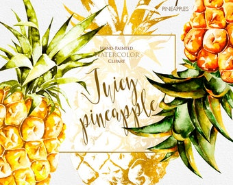 Watercolor Pineapple, Tropical Fruit, Exotic Hawaii, Yellow Fruits, Greeting cards, Invite Fruit Print, Ananas Print, Kitchen Decor, Digital