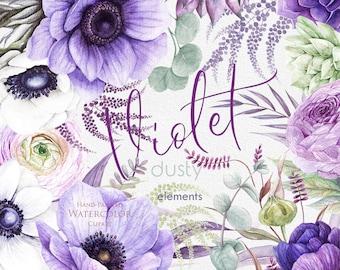 Wedding Watercolor Clipart, Dasty, Violet, Anemone Flowers, Eucalyptus, Ranunculus, Succulent, Hand painted elements, floral invitations