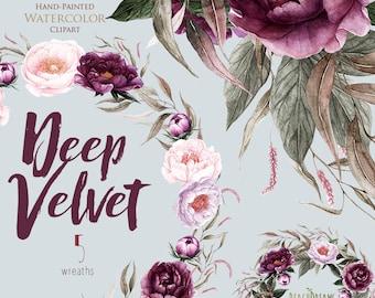 Peonies Flowers Watercolor, Floral elements, Burgundy, Violet, Plum, Botanical, Boho Wreaths, Hand Painted Wedding Clipart, Digital png