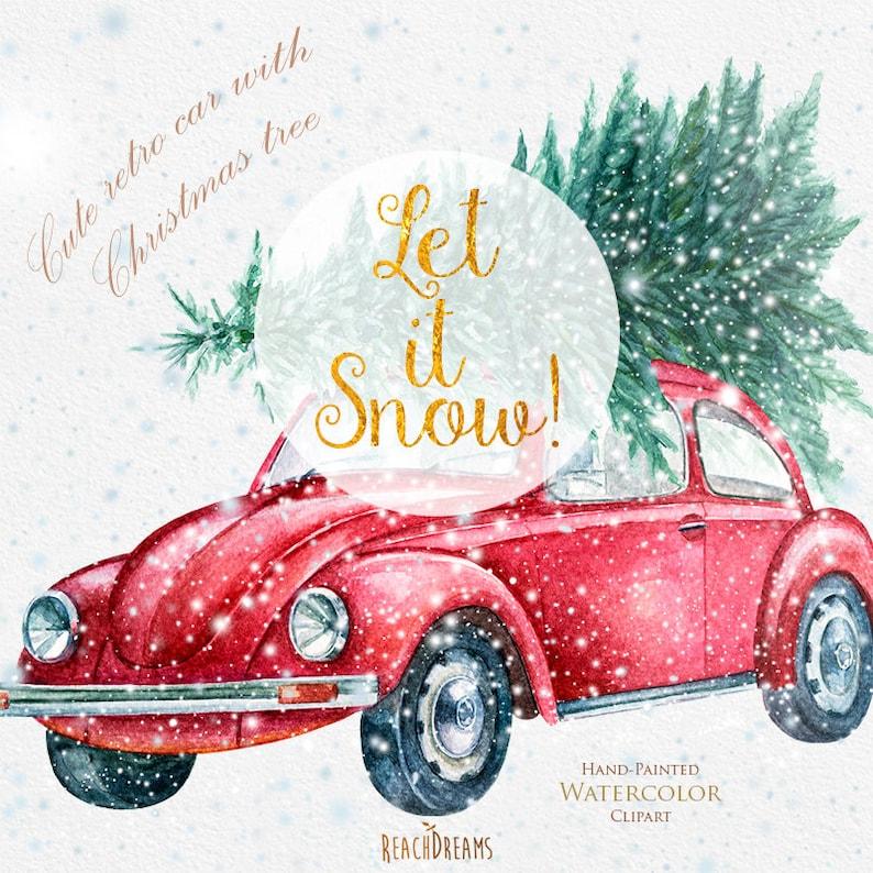 Auto Weihnachtsbaum.Süße Retro Auto Mit Weihnachtsbaum Von Hand Bemalt Aquarell Clipart Schnee Separaten Layer Neu Jahr Dekoration Grußkarte Einladung