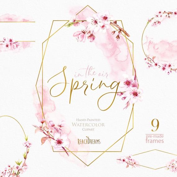 Watercolor Frames Floral Sakura Pre-made clipart blossom   Etsy