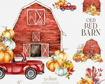 Barn Watercolor Clipart, Red Barn House, Farm, Retro car, Red Truck, Autumn, Fall, Vintage Pickup, Pumpkins, Old hangar, Farmhouse, Country