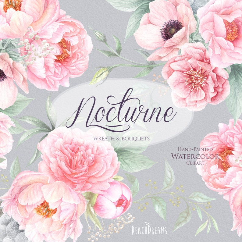greeting card Bouquets Hand Painted Clipart Floral Wedding Invitations Anemone Digital PNG Wreaths Watercolor Peonies Flowers DIY