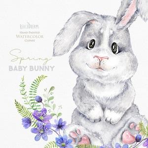 rabbit forest nursery art baby shower Watercolor Bunny Little animals clipart woodland berries kids cute babies portrait flowers