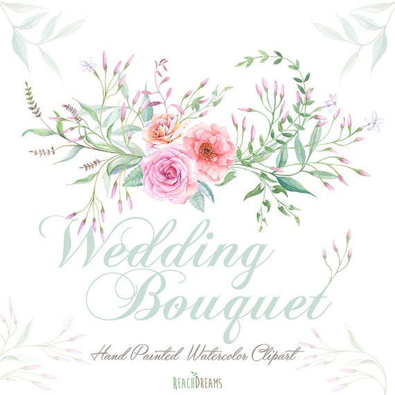 Watercolor Wedding Bouquet, Roses Flowers, Jasmine, Foliage, Hand ...