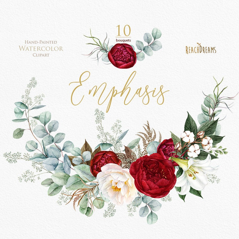 Watercolor Clipart Peonies Burgundy Floral Bouquets Etsy