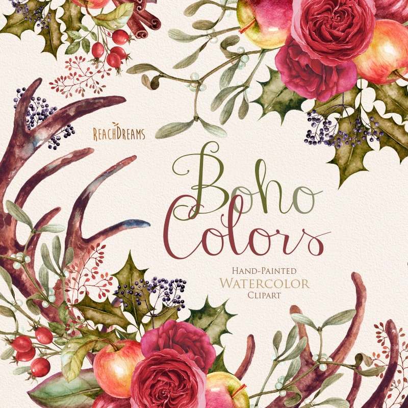 Flower Wreaths For Weddings: Watercolor Boho Clipart. Flowers Wreath And Bouquets