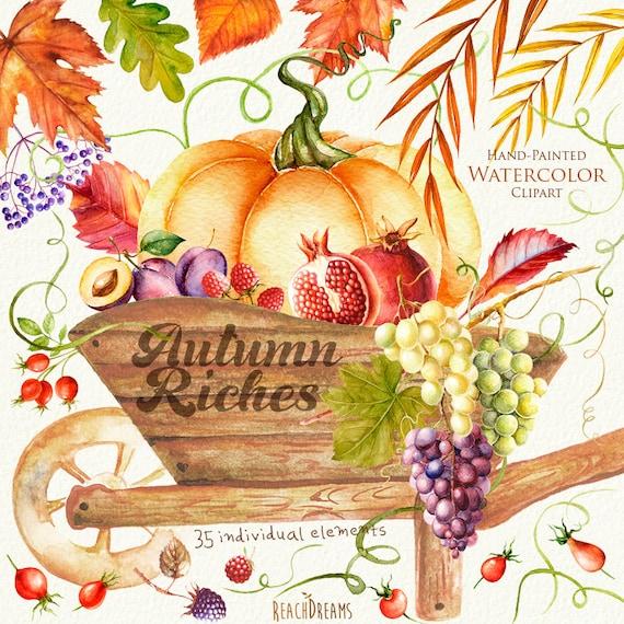 Autumn Harvest Watercolor clipart. Fall Halloween Pumpkin ...
