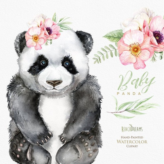 Watercolor Panda Little Animals Clipart Babies Portrait Cub Tropics Green Leaves Flowers Kids Cute Nursery Art Baby Shower Diy