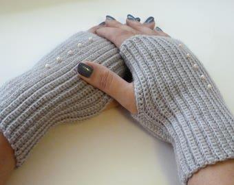 Mittens, knitted mittens, fingerless mittens, gray gloves, knitted gloves, handmade mittens, gift