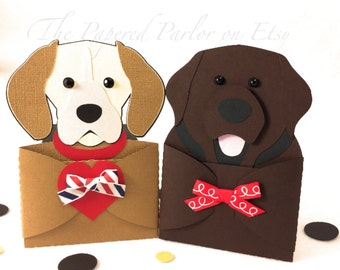 Dog Gift Card Holder Party Invitation Beagle Labrador Puppy Invitations