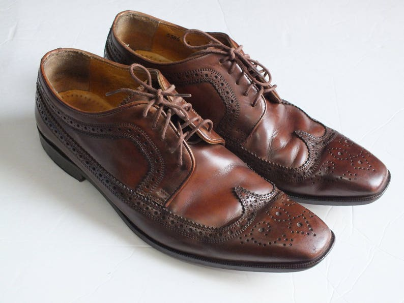 b0162bcaae70 Vtg. MERCANTI FIORENTINI wingtip brown leather oxford dress