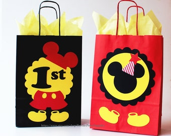 Mickey Mouse Favor Bags Birthday Party Decorations Gift Treat Candy Goodie 1st Disney