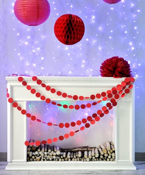 Sewn Paper Garland Red Circle Paper Garland String Chain Birthday
