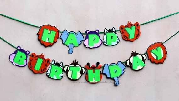 Safari Birthday Banner Baby Animals Decorations Jungle Party 1st First Boy Girl