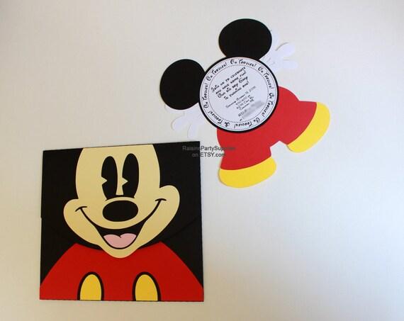 Mickey Mouse Invitation Kit Invite Envelope For Disney Inspired