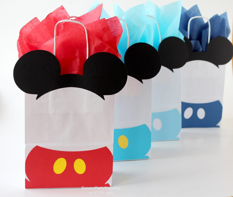 cbea88951261 Mickey favor bags - inspired Disney Clubhouse birthday party bags for kids  Mickey Mouse treats Mickey goody Red Baby blue Dark blue Yellow