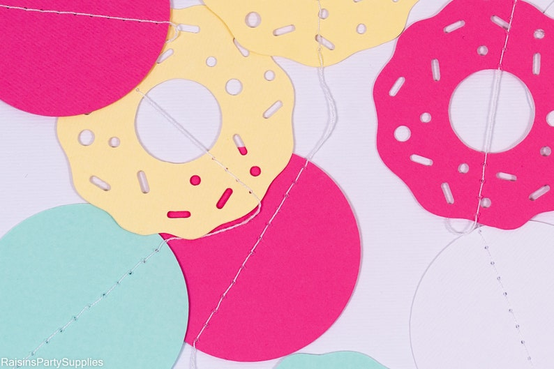 hot pink white for party backdrop Donut grow up paper garland light yellow turquoise blue
