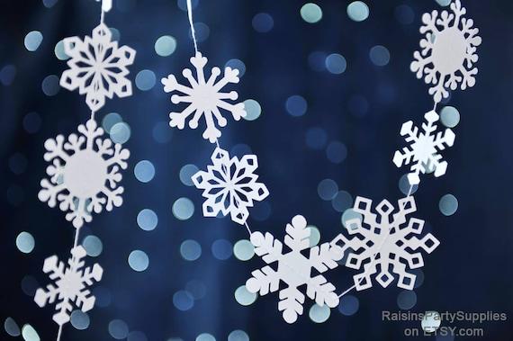 Fiocchi Di Neve Di Carta Modelli : Fiocco di neve cuciti ghirlanda di carta natale decorazione etsy