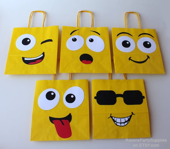 Emoji Smiley Bags Birthday Party Decorations For Instagram And Facebook Emoticon Goody Laughing Face Bag