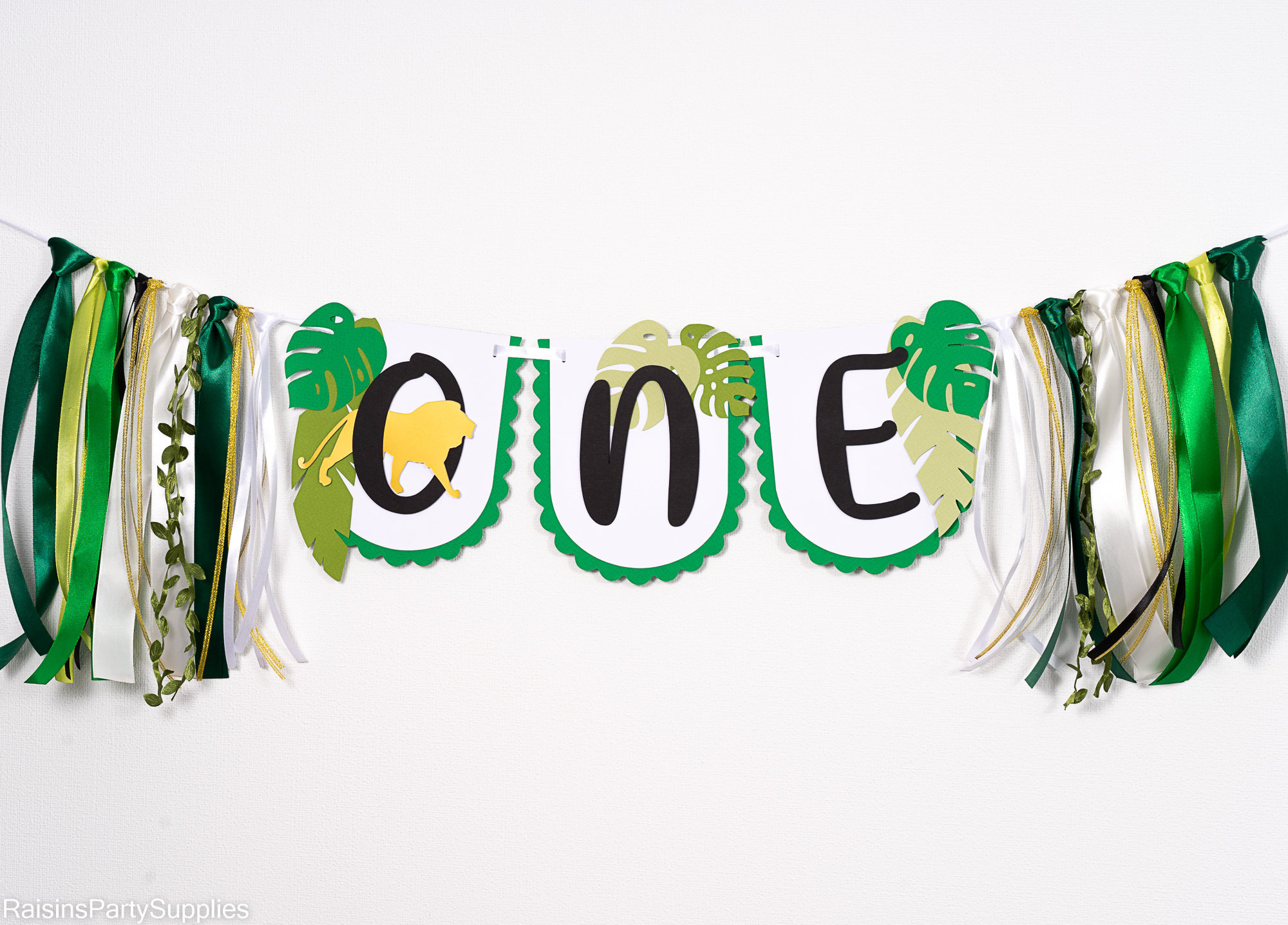 Safari ONE high chair banner for baby boy first birthday party, Jungle highchair garland with lion, Wild one birthday decorations for sale