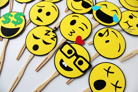 Emoji Cupcake Toppers Birthday Party Decorations Social Media Emoticon Supplies Smile