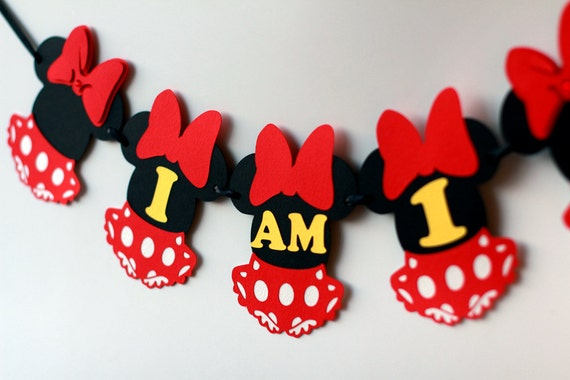 Minnie Mouse Party Decorations First Birthday I Am One Highchair Banner Girl Red High Chair
