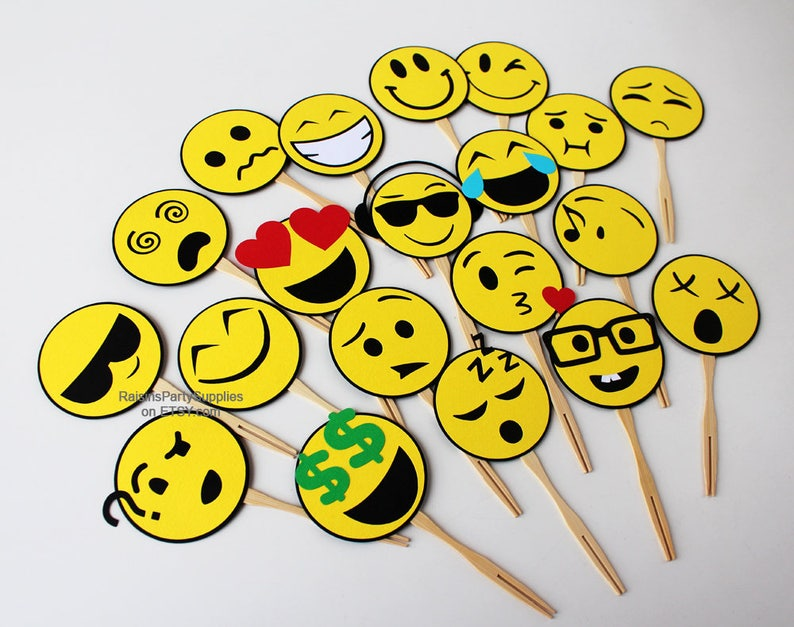 Emoji Cupcake Toppers Birthday Party Decorations Social Media Decora