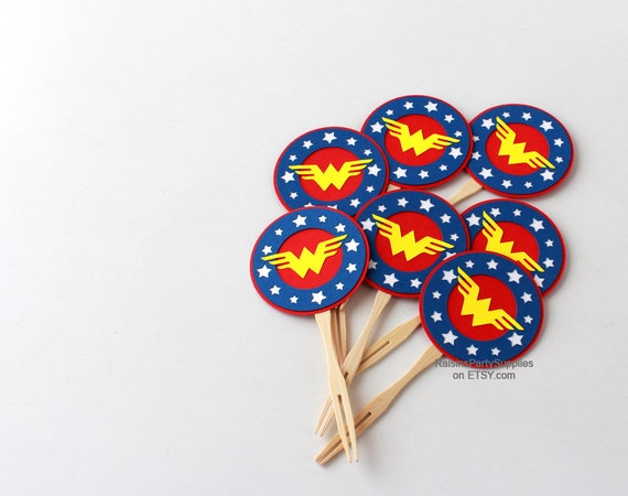 Wonder woman decorations , inspired Avengers cupcake toppers Wonder woman  birthday party super hero party decorations Superhero cupcake pick from