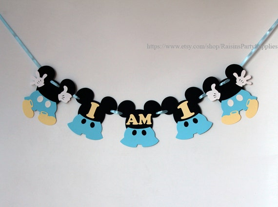 Mickey Mouse Baby Blue I Am One Highchair Banner Decorations First Birthday Party Disney Clubhouse Boy High Chair