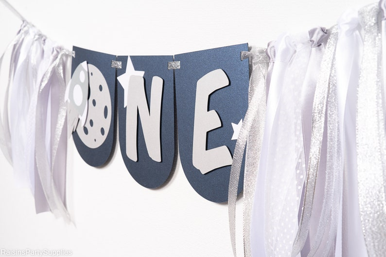 Space ONE high chair banner for 1st Astronaut birthday or I love you to the Moon and back themed party