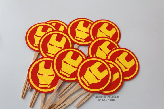 Ironman Birthday Decorations Cupcake Toppers Iron Man