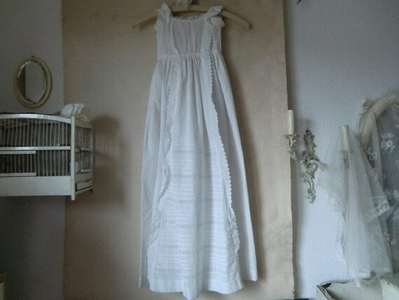 White vintage baptism dress antique cotton lace