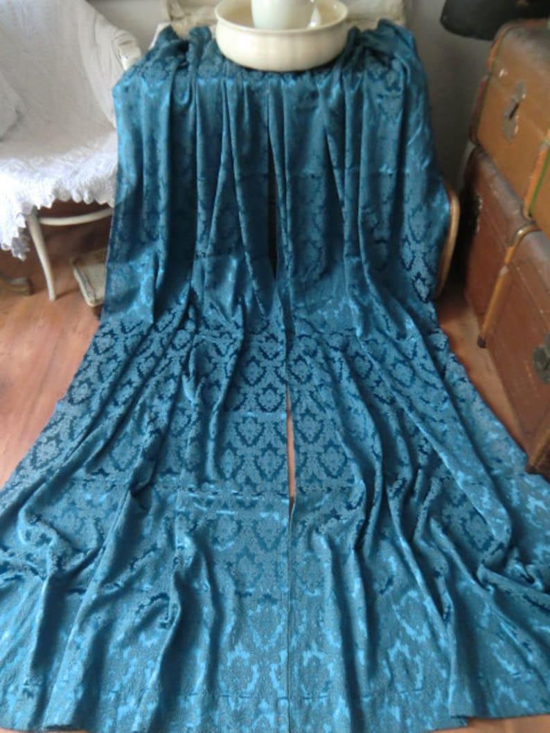 Vintage antique Brocade Satin Curtains curtains sapphire blue boudoir salon Boho shabby chic each curtain