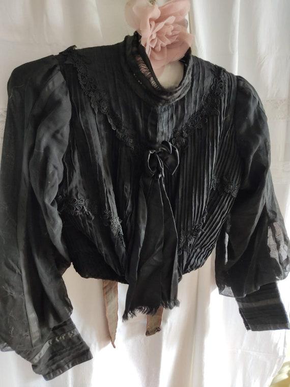 Antique 1850 silk jacket victorian blouse historic